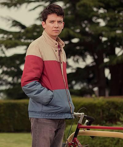 asa butterfield otis jacket - vintage wrangler