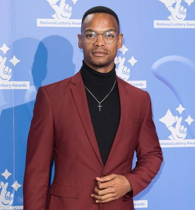 Johannes Radebe shirtless body suit red carpet
