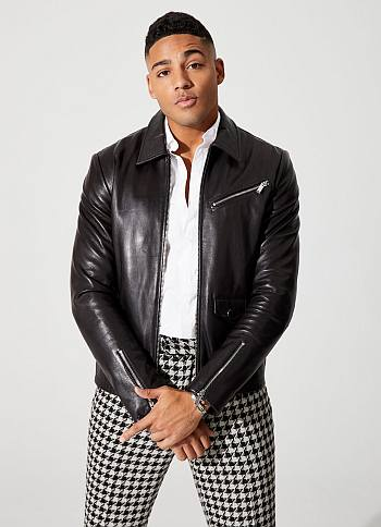 Michael Evans Behling style fashion - leather jacket