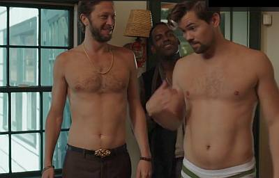 Ebon Moss-Bachrach shirtless girls with andrew rannells