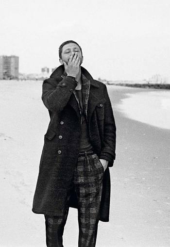 Ebon Moss-Bachrach style fashion - long coat vogue