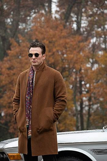 chris evans coat knives out - ransome drysdale