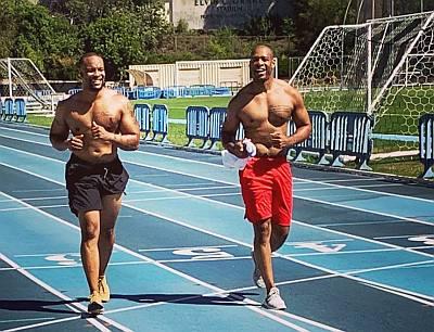 demarco morgan shirtless workout with boyfriend