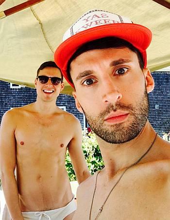 jackie cox shirtless with boyfriend - andy k in speedo