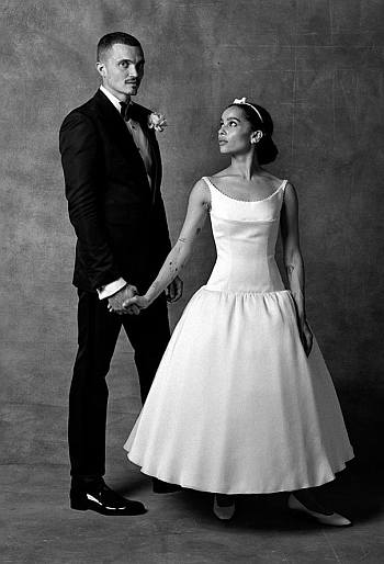 karl glusman zoe kravitz wedding old school style