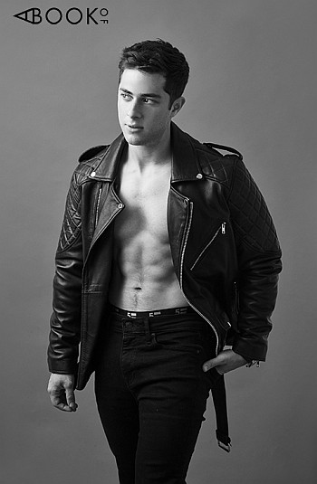 Jaren Lewison shirtless in leather