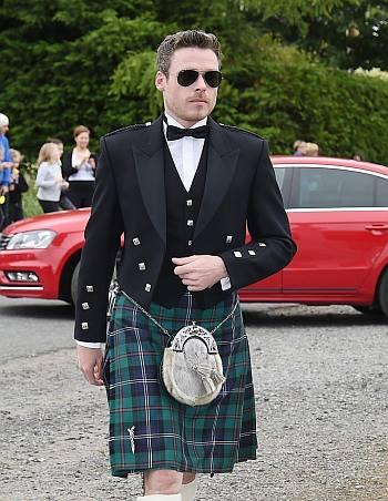 celebrities wearing kilts - richard madden wedding