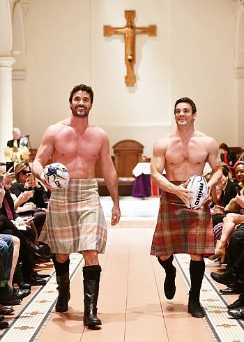 celebrities wearing kilts - thom and max evans rugby hunks fashion