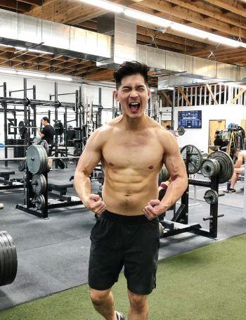 eddie liu shirtless gym body - steve