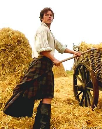 jamie fraser kilt - sam heughan farming work