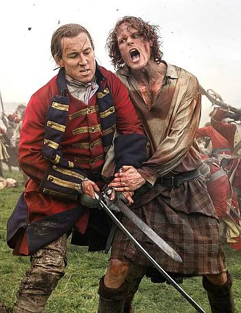 jamie fraser kilt sam heughan - fight in war