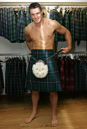 shirtless in kilt - dan carter kiwi rugby player