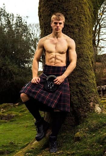 shirtless men in kilt - model outside nature