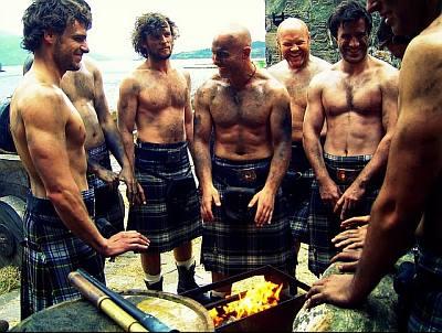 shirtless men in kilt - real men