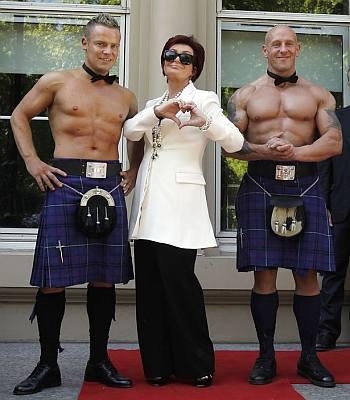 shirtless men in kilt - red carpet with sharon osbourne