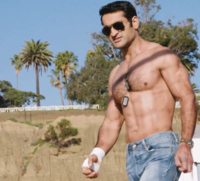 Kumail Nanjiani shirtless in jeans
