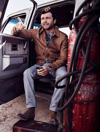 Alden Ehrenreich style esquire - leather jacket by kors jeans by dolce gabbana