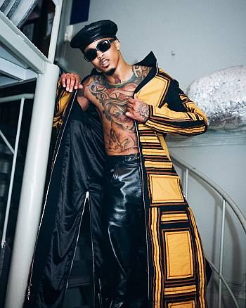 august alsina shirtles leather pants