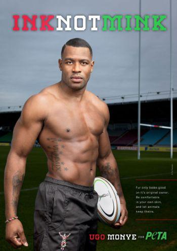 black rugby players - ugo monye peta ink not mink