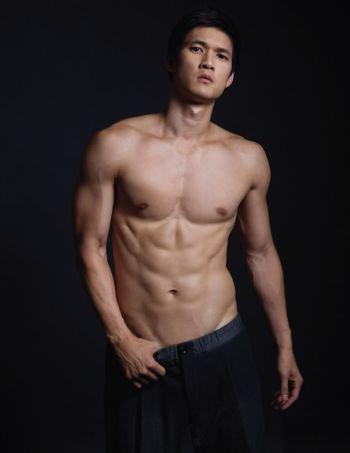 harry shum shirtless body