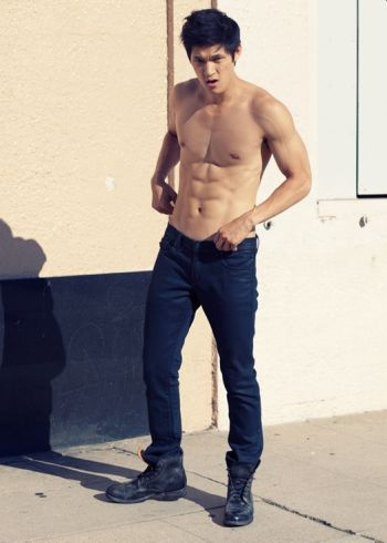 harry shum shirtless in jeans