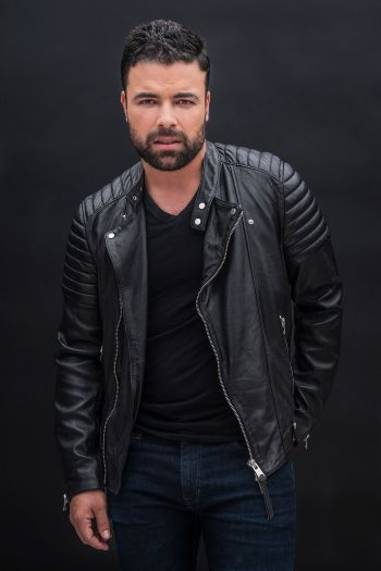 james martinez hot leather jacket and jeans
