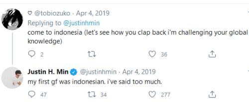 justin min girlfriend indonesian
