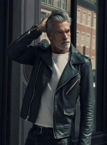 older men leather jacket - mature male model