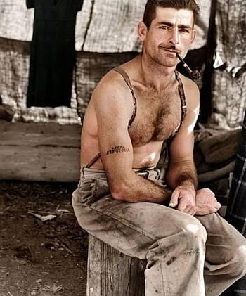 real lumberjack hunk shirtless - photo by dorothea lange 1939 in oregon