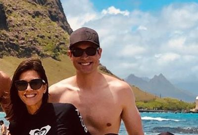 whit johnson shirtless with wife - beach vacation