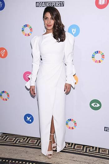 Celebrity White Dress - priyanka chopra The Goalkeepers Global Goals Awards