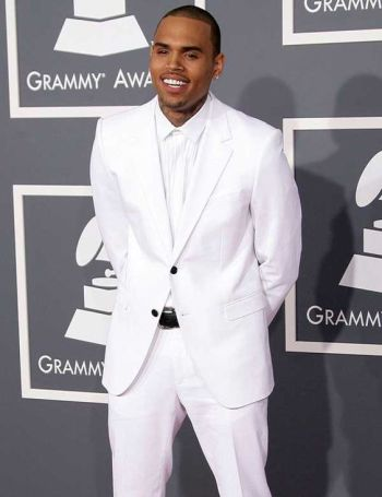 white suits for men - chris brown at the grammys