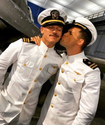 Ed Skrein gay kiss luke evans midway