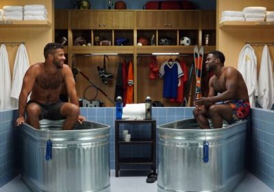 bubba wallace shirtless body - ice bath with kevin hart