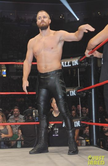 shirtless leather pants - stephen amell - all in wrestling