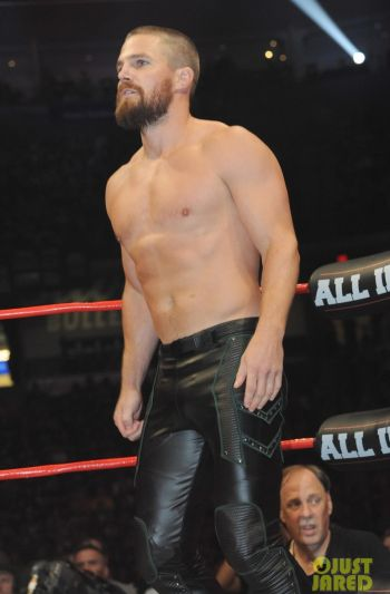 shirtless leather pants - all in stephen amell