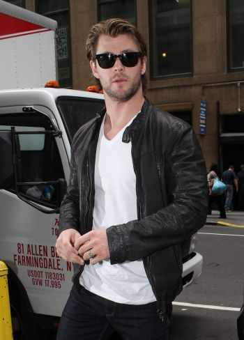 chris hemsworth leather jacket and jeans new york