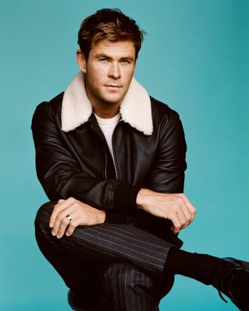 chris hemsworth leather jacket by louis vuitton - gq magazine