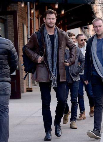 chris hemsworth leather jacket winter