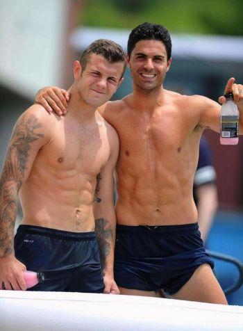 mikel arteta shirtless body with Jack Wilshere