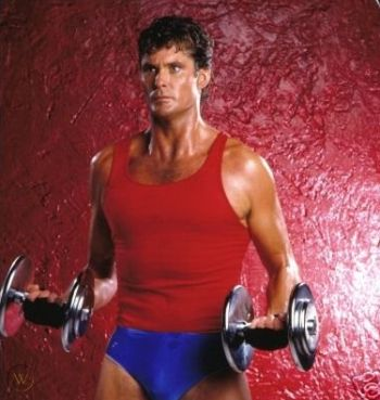 vintage workout clothes for men - david hasselhoff - tank top and speedo