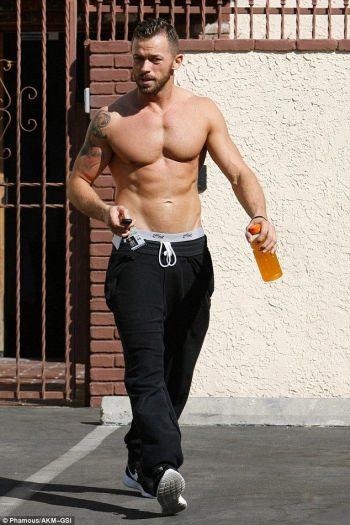 Artem Chigvintsev shirtless in sweatpants