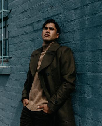 Martin Sensmeier model long coat