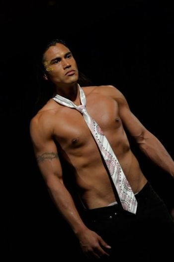 Martin Sensmeier shirtless model runway