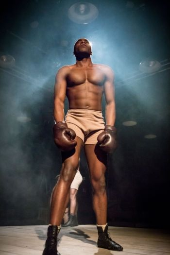 Martins Imhangbe shirtless in the royale - boxing stage play