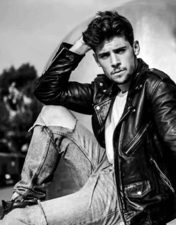 Ned Porteous hot in leather jacket