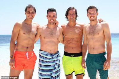 Pablo Carreño Busta shirtless with nadal roberto bautista agut and feliciano lopez