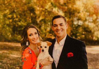 Sterling Riggs wife lauren and dog biscuit - xmas card