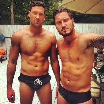 Val Chmerkovskiy shirtless with bro maksim