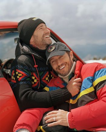 blue hamilton model ralph lauren with husband for holiday campaign
